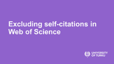 Excluding self-citations in Web of Science tutorialvideo